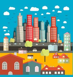 City - town - easy flat design with houses vector
