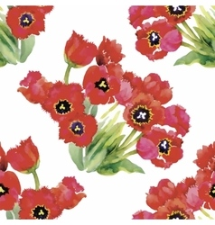 Watercolor of tulips flowers vector