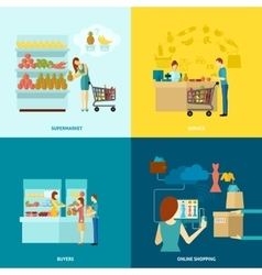 Buyer flat icons set vector