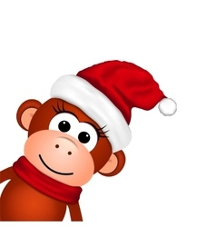 Cheerful monkey in santa hat vector