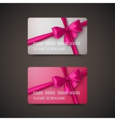 Gift cards with pink bow and ribbon vector