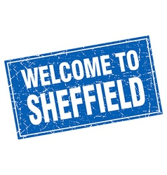 Sheffield blue square grunge welcome to stamp vector