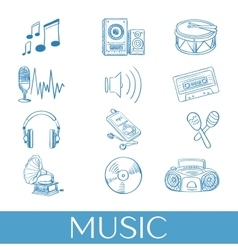 Hand drawn music icons set vector