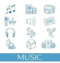 Hand drawn music icons set vector image