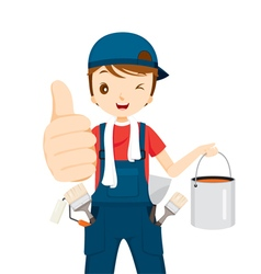 Painter thumbs-up with colour bucket and tools vector
