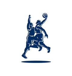 Basketball player dunk block retro vector