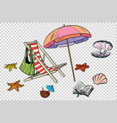 beach set tourism and leisure on the sea isolate vector image vector image