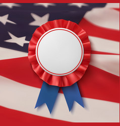 blank badge realistic patriotic blue and red vector image vector image