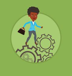 business woman running on cogwheels vector image vector image