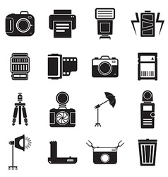 Camera and accessory icon set vector image