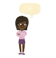 Cartoon friendly girl rolling eyes with speech vector