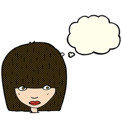 cartoon staring woman with thought bubble vector image vector image