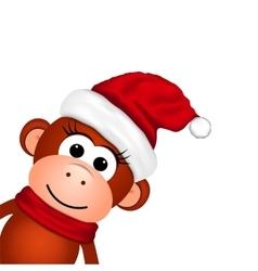 Cheerful monkey in santa hat vector