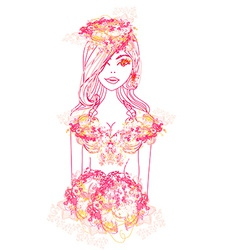 Creative fashion portrait vector image vector image