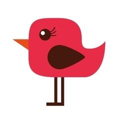 Cute bird red icon vector