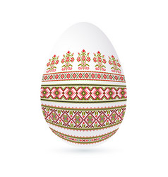 Easter ethnic ornamental egg with cross stitch vector