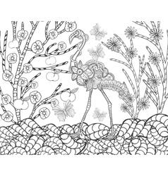 Flamingo in flower garden vector