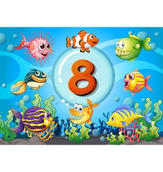 Flashcard number eight with 8 fish underwater vector image vector image