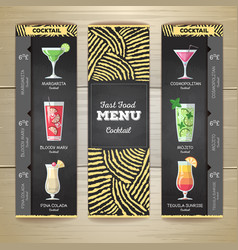flat cocktail menu desing with chalk drawing vector image