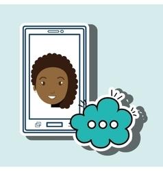 Girl cartoon smartphone cloud chat vector