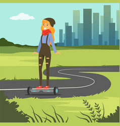Girl riding on gyroscope on city background vector