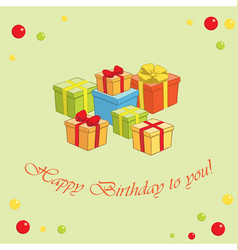 Green background with gifts - happy birthday vector