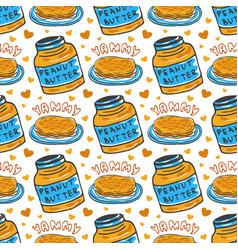 Hand drawn peanut butter seamless pattern vector