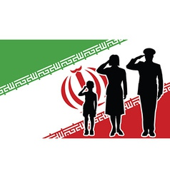 Iran soldier family salute vector