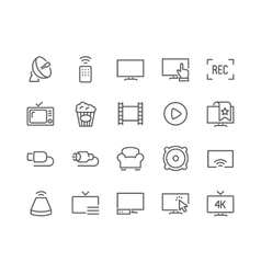 Line TV Icons vector image