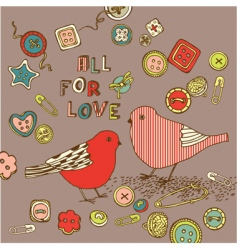love birds background vector image vector image
