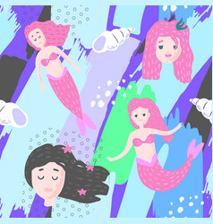 Mermaids seamless pattern in childish style vector