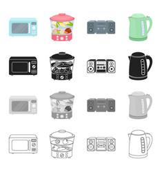 Microwave household steamer music center vector
