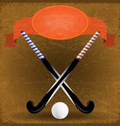 Old paper background with sticks for field hockey vector