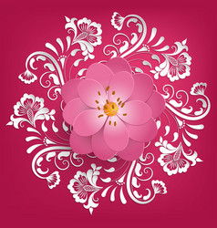 paper cut sakura flowers with mehndi vector image vector image