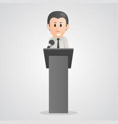 Person speaks into microphone podium vector