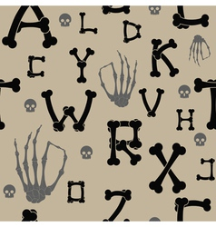 seamless background with bones and letters vector image vector image