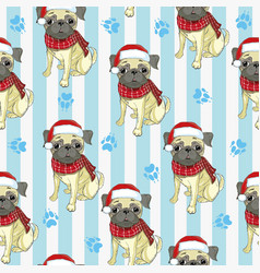Seamless pattern with pug-dog in santas hat and vector