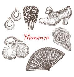 Set of flamenco accessories vector