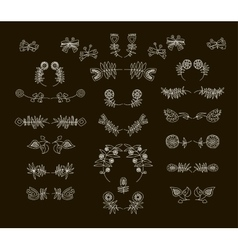 Set of symmetrical floral graphic design elements vector image