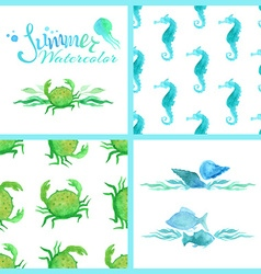 Set of watercolour marine seamless patterns page vector