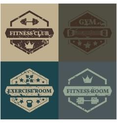 Set sports emblem grunge vector