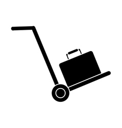 Silhouette hand cart suitcase luggage travel vector