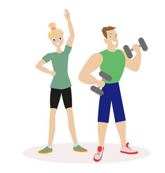 sport people man and woman engaged in fitness or vector image