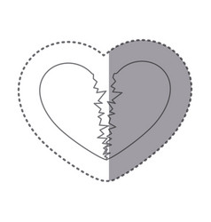 Sticker monochrome silhouette of broken heart vector