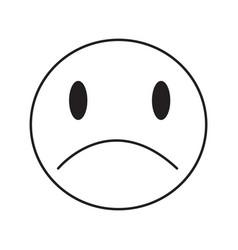 Thin line sad emoticon icon vector