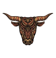 Bull ox or taurus painted tribal ethnic ornament vector