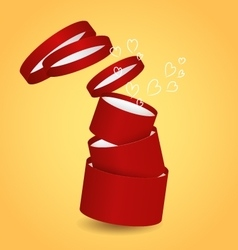 Three isolated round red decorative gift box with vector