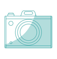 Blue silhouette shading analog camera with flash vector
