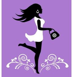 Elegant female silhouette and ornate pattern with vector