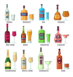 Alcoholic drinks in bottles and glasses flat vector